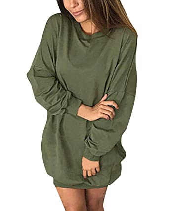 c882b14bf5 Minetom Femmes Sexy Col Rond Manches Longues Oversize Mini Robe Sweat Longue  Casual Sweat-Shirt Pullover Dress Automne Hiver Tunique Jumper: Amazon.fr:  ...