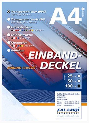 100 Einbanddeckel-Klarsichtfolie, DIN A4, transparent-klar, 0.2 mm FALAMBI