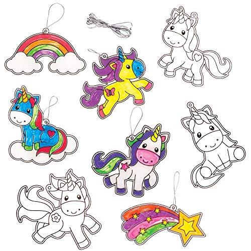 Baker Ross Unicorn Suncatchers Decoration Kit (Pack of 8) for Kids to Decorate