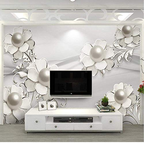 - ATR Size Fashionable Fashion Wallpaper 3D Stereo Pearl Jewelry Flower Photo Murals Living Room TV Background Wall Cloth Papel De Parede.300x210cm