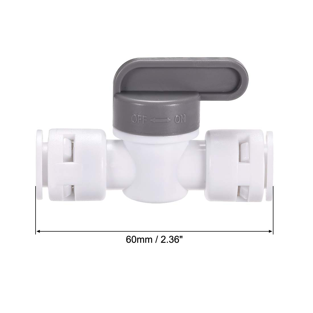 Grey and White 2Pcs 3//8 Tube OD Water Purifiers Water Filters for RO Water Systems uxcell Quick Connector Ball Valve Water Tube Fitting