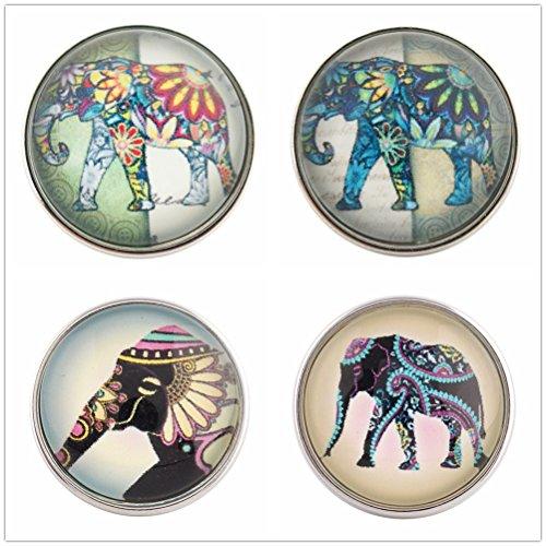 Elephant Charm Glass (Lovmoment Snap Mixed Random 20MM Glass Elephant Style Snap Jewelry (Pack of 4PCS))