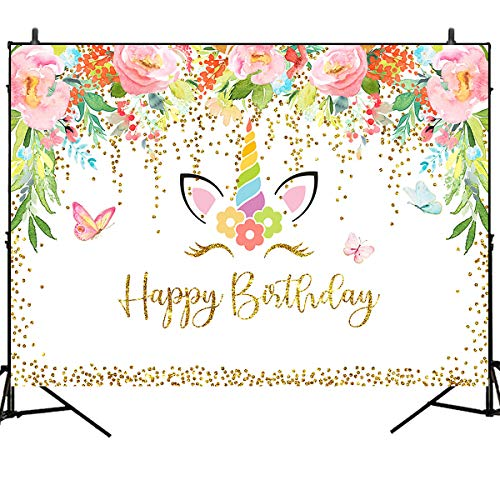 - Mehofoto Unicorn Photography Background Flower Butterfly Happy Birthday Backdrop 7X5ft Vinyl Flash Star Baby Kid Birthday Party Backdrops Photo Booth Banner Decoration