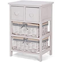Giantex Nightstand Bedside End Table Organizer W/ 2 Wicker Baskets Chest Cabinet Storage (1)