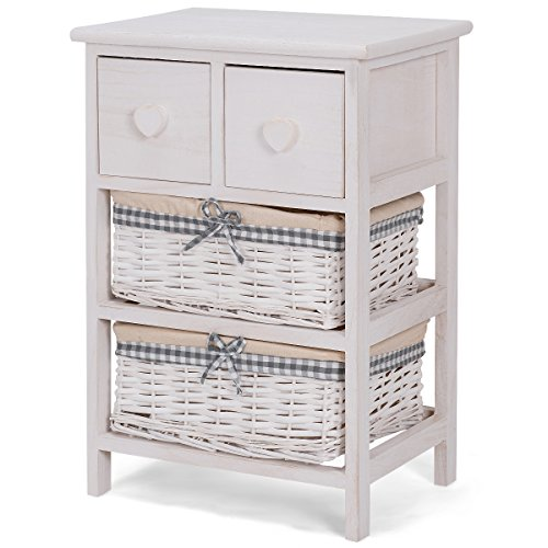 Giantex Nightstand Bedside End Table Organizer W/ 2 Wicker Baskets Chest Cabinet Storage (1) (Cabinets Bathroom Wicker)