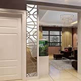 3D DIY Wall Sticker by Naladoo, 14Pcs 3D Mirror Rectangle Vinyl Removable Wall Sticker Art Home Room Decor Shop Office Window Decals Decoration (Silver)