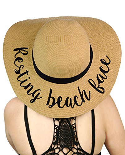 C.C Women's Paper Weaved Crushable Beach Embroidered Quote Floppy Brim Sun Hat, Resting Beach Face by C.C