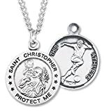 Heartland Men's Sterling Silver Round Saint Christopher Soccer Pendant + USA Made + Chain Choice