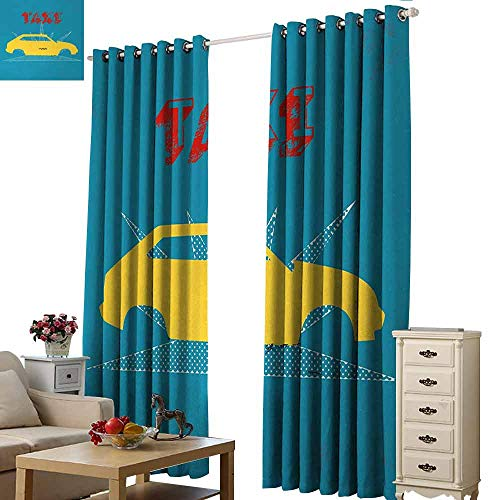 Homrkey Decor Curtains Retro an Old Cab Car with Grunge Taxi Typography Automobile 90s Graphic Design Thermal Insulated Tie Up Curtain W96 xL84 Petrol Blue Yellow