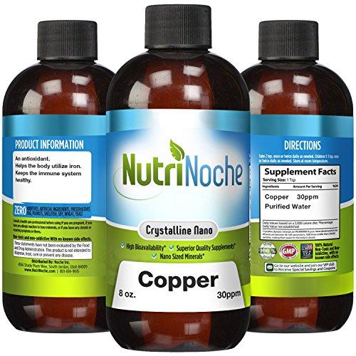 Copper Mineral Water (NutriNoche - Liquid Colloidal Copper - 30 PPM 8 fl oz - Nano Copper - Crystalline Purity - High Bioavailability - Colloidal Minerals (1))