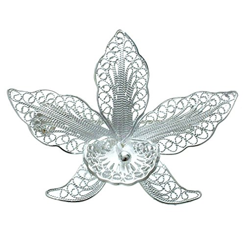 NOVICA .925 Sterling Silver Brooch, Orchid Filigree'