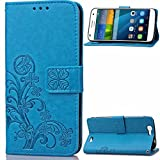 Huawei G7 Case, Ascend G7 Cases,Gift_Source [Wrist Strap] [Card Slot] Luxury Magnetic PU Leather Wallet Folio Flip Case Cover Embossed Tree and Leaf Design for Huawei Ascend G7 5.5 inch [Blue]