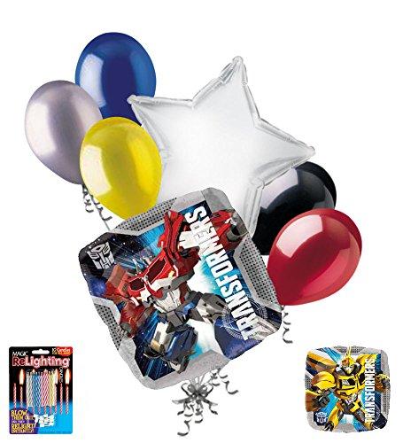 Optimus Prime Bumble Bee (7 pc Transformers Optimus Prime & Bumblebee Balloon Bouquet Super Decoration)