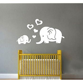 Amazoncom Elephant Bubbles Nursery Wall Decal Set Grey Baby - Nursery wall decals elephant