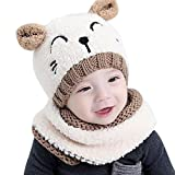ZEYI Baby Girls Boys Warm Soft Knit Bear Hat Toddler Winter Crochet Beanie Cap Circle Scarf (2 Piece Sets)