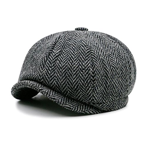 Urchart Men's Women's 8Panels newsboy Hat Unisex Tweed Wool Blend Beret Cap (Stripe Black Grey)