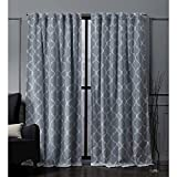 Nicole Miller Treillage Woven Blackout Hidden Tab Top Curtain Panel, Chambray Blue, 52x96, 2 Piece
