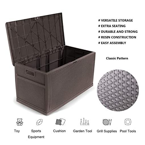 Deck Boxes YIGUO Deck Box Outdoor Resin Patio Storage Container 120 Gallon,Easy Placement Large Storage Box Garden Backyard Patio… outdoor deck boxes