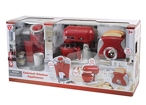 Brand New Playgo 3 Pc Gourmet Red Kitchen Appliance Set Coffee