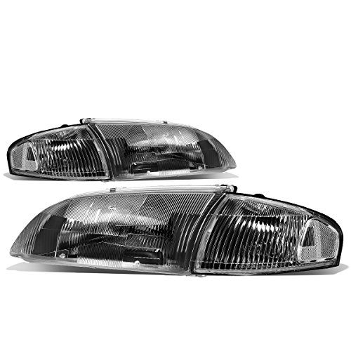 For Mazda 626 6th Gen 4Pcs Black Housing Fluted Lens Headlights + Clear Corner - Replacement Grille Mazda 626