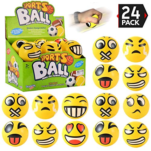 Liberty Imports 24 Pack Yellow Squeeze Emoji Stress Balls - Soft Foam Squishy Sensory Fidget Toys for Toddlers, Kids, Adults Party Favors (3 inches) ()