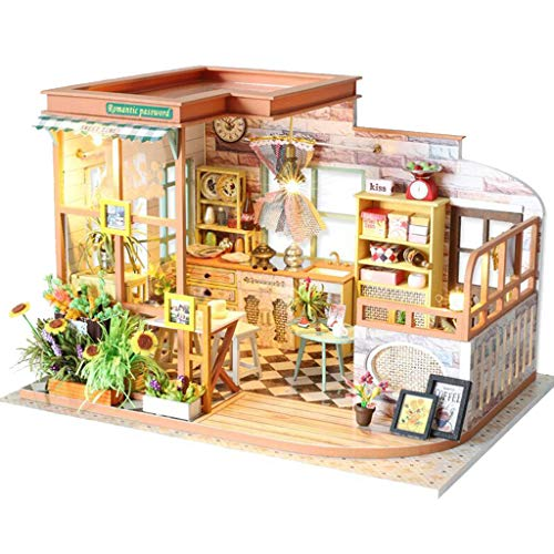 Room Model Kit - Binory 3D Wooden DIY Miniature Kitchen and Dinning Room with Furniture LED House,Hand-assembled Villa Model Creative Gifts,DIY Miniature Dollhouse Kit,Dreamy Wooden Dollhouse Kit(Without Cover)