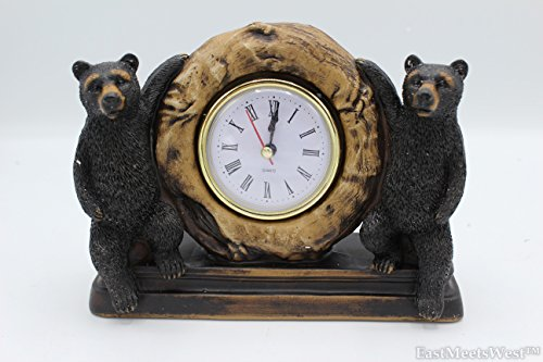 Desk Bear Clock (Double Black Bear Desk Shelf Electric Clock Rustic Hand Painted Home Office Decoration)