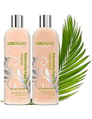 Moroccan Argan Oil Shampoo and Conditioner, SLS Sulfate Free + Cruelty Free, Safe for Color-Treated, Keratin Treated Hair, Best for Damaged, Dry, Curly or Frizzy Hair - Thickening for Fine / Thin Hair