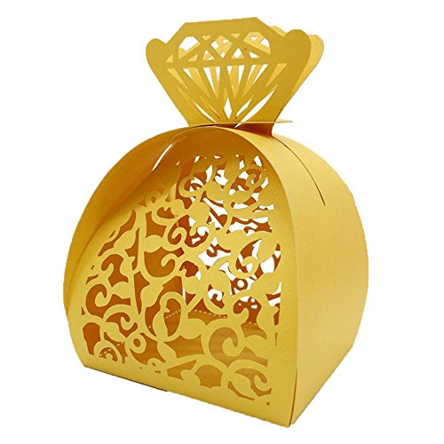 WOMHOPE® 50 Pcs - Jewelry Lock Vine Hollow Laser Cut Roses Flowers Wedding Candy Box Chocolate Candy Wrappers Holders Party Favors for Bridal Shower,Wedding,Party,Birthday Gift (Gold) ()