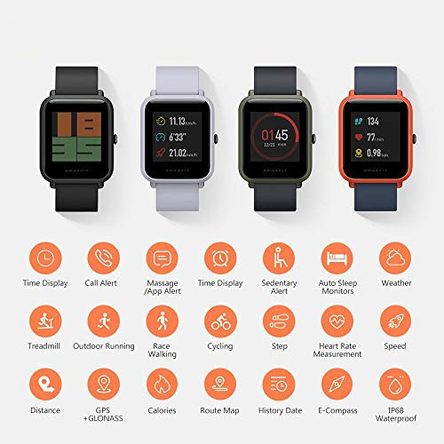 Smart Watch, Amazfit Bip Glonass GPS Cardiofrequenzimetro Fitness Sport Watch da 1,28