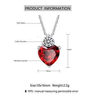 Lam Sence Sterling Silver Red Garnet Heart Swarovski Crystal and Diamond  Jewelry for Women Girls (Necklace)