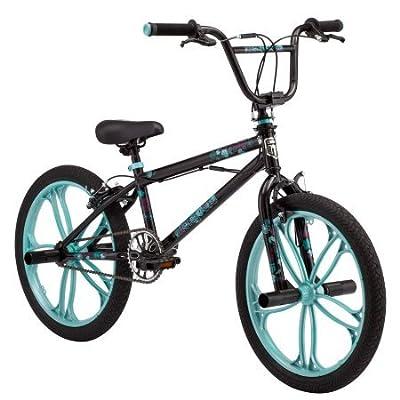 "Mongoose 20"" Craze Girls' Freestyle Bike, Black w/Baby Blue"