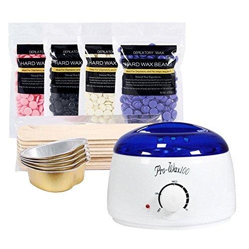 Wax Warmer, Umiwe Electric Wax Heater Hair Removal Waxing Kit, Wax Machine and Wax Melter with 4 Wax Beans 10 Wax Sticks 5 Aluminum Foil Wax Bowls