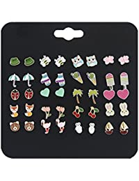 20 Pairs Small Cute Multiple Animal Stud Earrings Set For Girls Kids