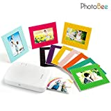 Photobee Portable Photo Printer - White (12 sheets of sticky-backed photo paper, 10 paper frames and 1 folding album are included)