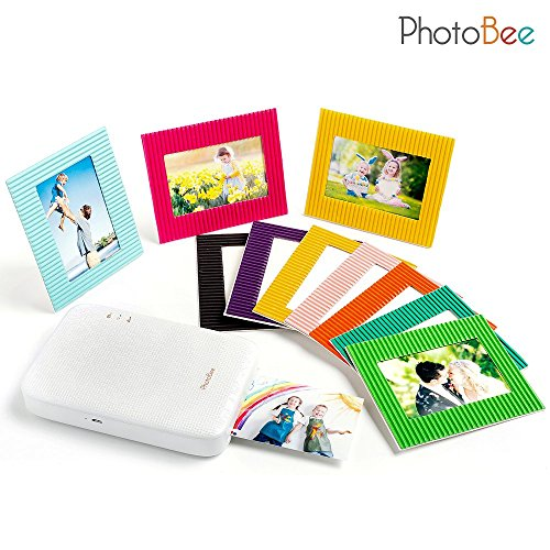 Photobee Portable Photo Printer - White (12 sheets of sticky-backed photo paper, 10 paper frames and 1 folding album are included) by PHOTOBEE