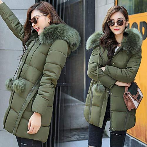 In Cappotto Capispalla Oudan Parka Solido Donna Large Army Spessa Con Inverno Rosa Casual Dimensione Green Caldo colore Pelliccia Cappuccio Sintetica Da BqCd4qw7