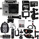 Vivitar DVR914HD 1440p HD Wi-Fi Waterproof Action Video Camera Camcorder (Silver) + Remote, Action Mounts + 32GB + Power Hand Grip + Clamp Arm + Backpack Kit