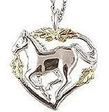 Black Hills Gold Silver Horse Necklace