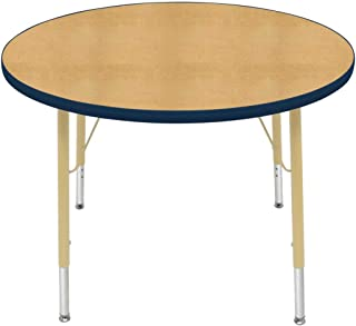 """product image for Creative Colors 36"""" Round Table with Top Color: Maple, Edge Color: Navy, Leg Height: Standard 21""""-30"""", Glide Style: Self-Leveling Nickel"""