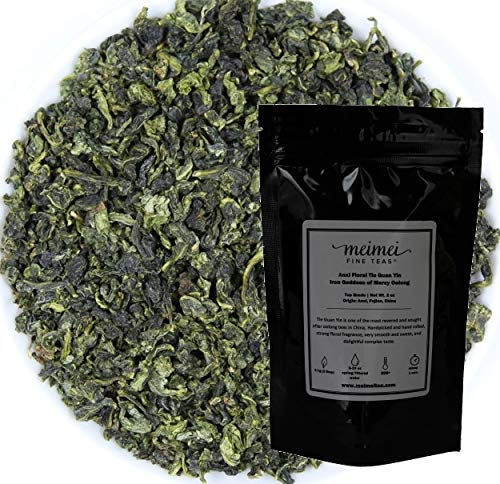 (MeiMei Fine Teas Top Grade Anxi Floral Tie Guan Yin Oolong Tea - Iron Goddess of Mercy Chinese Loose Leaf Tea - Single Origin High Mountain Ecologically Grown - Energetic Very Fragrant (2 oz))