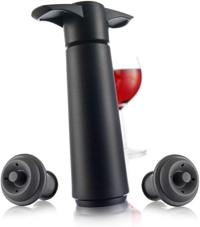 Compra Vacu Vin 09814606 Bomba de Vacío con 2 Tapones, Color Negro, Pack de 1 Unidad en Amazon.es