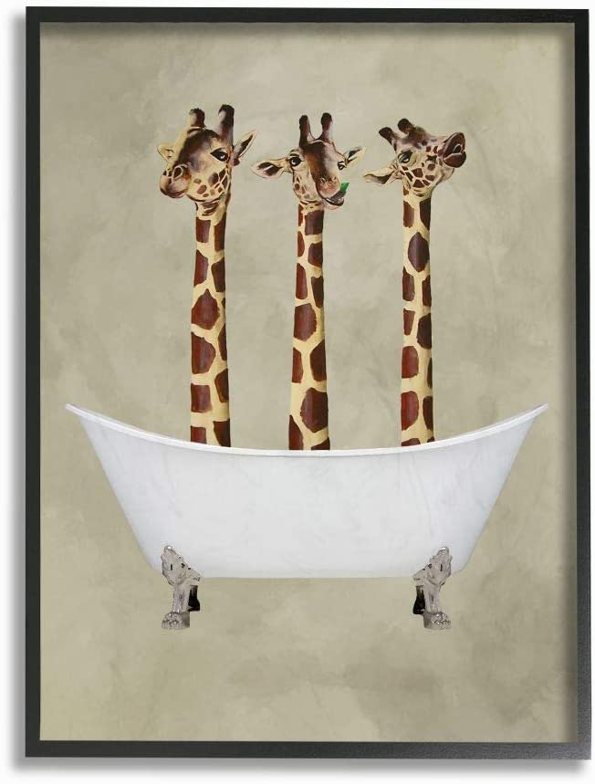 Stupell Industries Three Giraffes In A Bathtub Oversized Framed Giclee Texturized Art, 16 x 1.5 x 20, Multi-Color