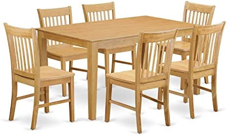 CANO7-OAK-W 7 Pc Dining room set-Dinette Table and 6 Dining Chairs