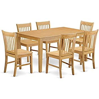 Amazon East West Furniture CANO7 OAK W 7 Piece Dining Room