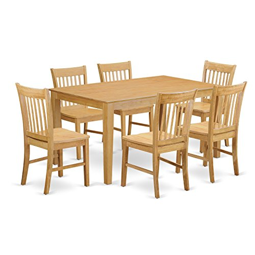 East West Furniture CANO7-OAK-W 7 Pc Room Set-Dinette Table and 6 Dining Chairs, Wood Seat, Oak Finish