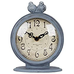 NIKKY HOME Shabby Chic Pewter Quartz Table Clock with 2 Birds, 4.7 x 2.4 x 6.1 Light Slate Grey
