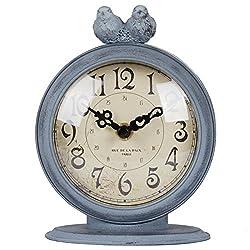 NIKKY HOME Shabby Chic Pewter Quartz Table Clock 2 Birds, 4.7 x 2.4 x 6.1 Light Slate Grey