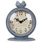 NIKKY HOME Shabby Chic Pewter Quartz Table Clock with 2 Birds, 4.7'' x 2.4'' x 6.1'' Light Slate Grey