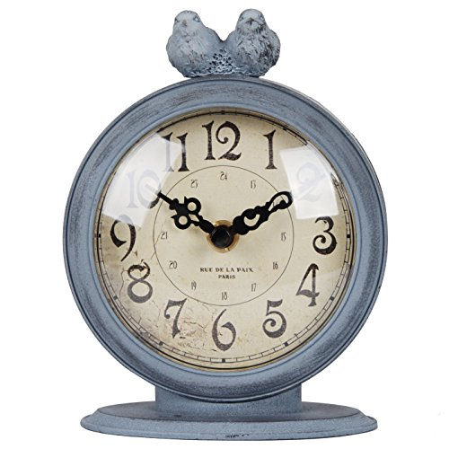 NIKKY HOME Shabby Chic Pewter Quartz Table Clock with 2 Birds, 4.7